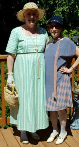 Green striped day dress - 1920's (for Downton Abbey Tea)